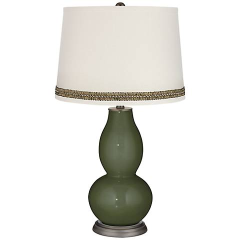 Secret Garden Double Gourd Table Lamp with Wave Braid Trim