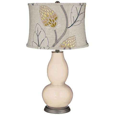 Steamed Milk Beige Thistles Shade Double Gourd Table Lamp