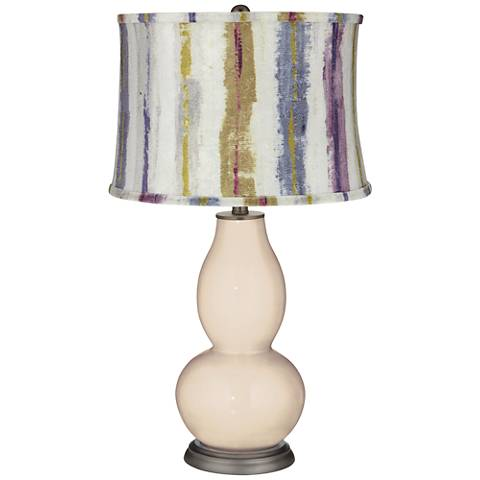 Steamed Milk Double Gourd Table Lamp w/ Purple Striped Shade