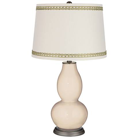 Steamed Milk Double Gourd Table Lamp with Rhinestone Lace Trim