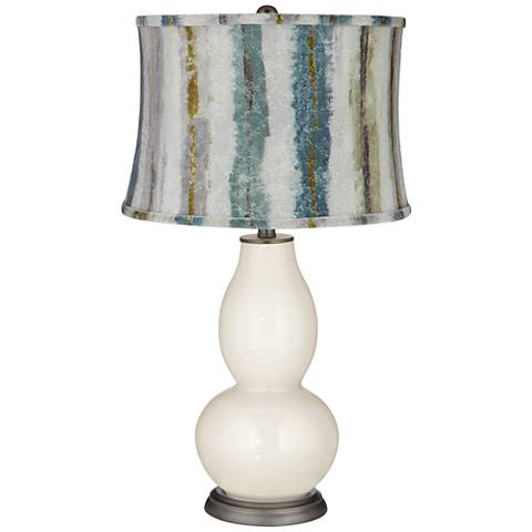 West Highland Double Gourd Table Lamp w/Crackle Stripes Shade
