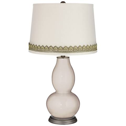 Pediment Double Gourd Table Lamp with Scallop Lace Trim
