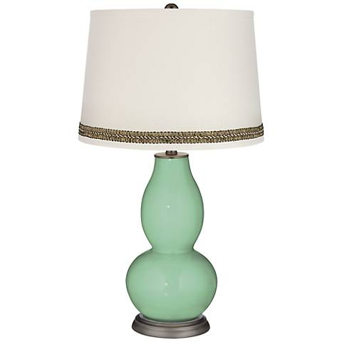 Hemlock Double Gourd Table Lamp with Wave Braid Trim