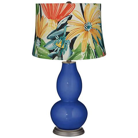 Dazzling Blue Multi-Color Daisies Double Gourd Table Lamp
