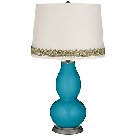 Caribbean Sea Double Gourd Table Lamp with Scallop Lace Trim