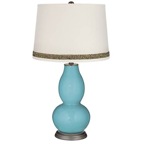 Nautilus Double Gourd Table Lamp with Wave Braid Trim