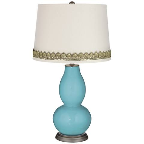 Nautilus Double Gourd Table Lamp with Scallop Lace Trim