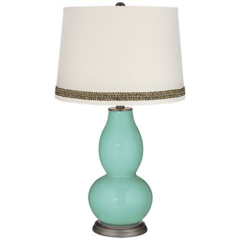 Rapture Blue Double Gourd Table Lamp with Wave Braid Trim