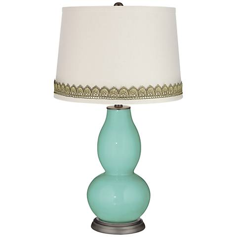Rapture Blue Double Gourd Table Lamp with Scallop Lace Trim