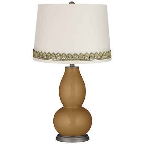 Light Bronze Metallic Double Gourd Lamp with Scallop Lace Trim