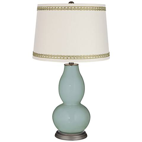 Aqua-Sphere Double Gourd Table Lamp with Rhinestone Lace Trim