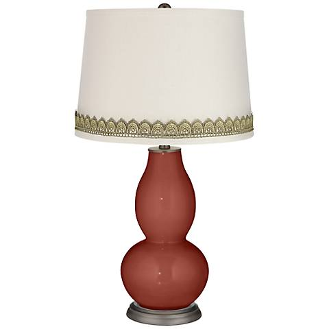 Madeira Double Gourd Table Lamp with Scallop Lace Trim