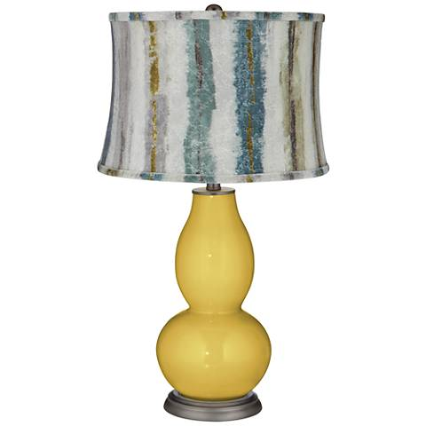 Nugget Double Gourd Table Lamp w/Crackle Stripes Shade