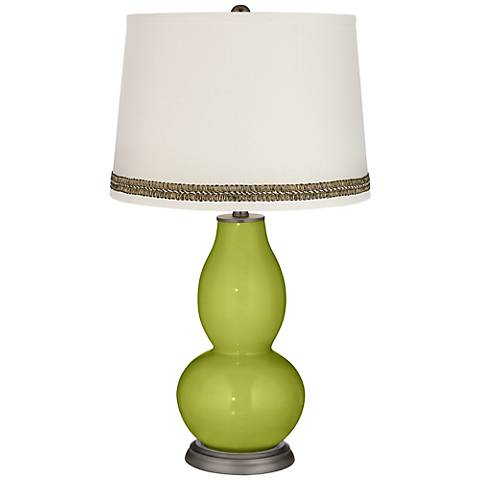 Parakeet Double Gourd Table Lamp with Wave Braid Trim