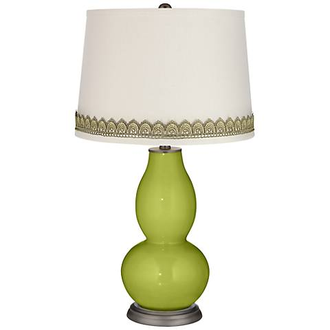 Parakeet Double Gourd Table Lamp with Scallop Lace Trim