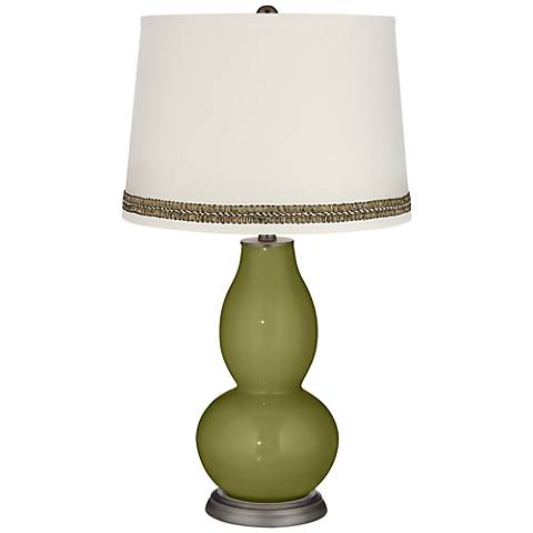 Rural Green Double Gourd Table Lamp with Wave Braid Trim