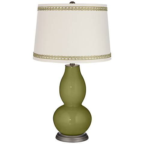 Rural Green Double Gourd Table Lamp with Rhinestone Lace Trim