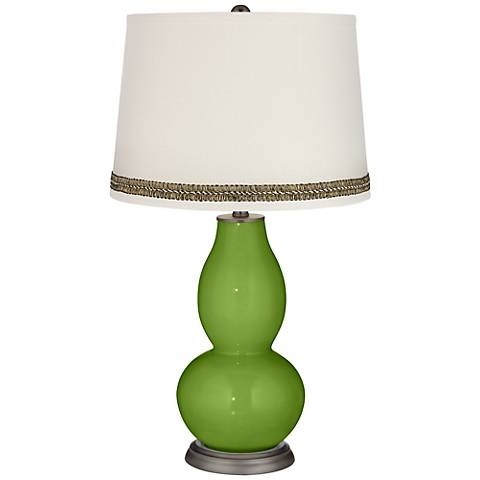 Gecko Double Gourd Table Lamp with Wave Braid Trim