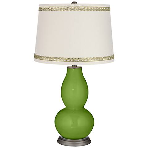 Gecko Double Gourd Table Lamp with Rhinestone Lace Trim