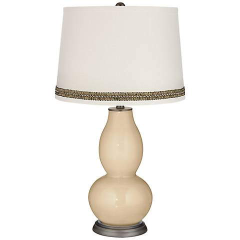 Colonial Tan Double Gourd Table Lamp with Wave Braid Trim