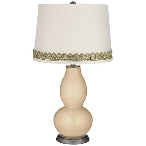 Colonial Tan Double Gourd Table Lamp with Scallop Lace Trim