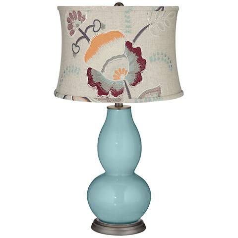 Raindrop Double Gourd Table Lamp w/ Beige Floral Shade