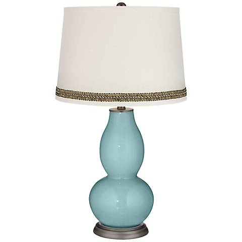Raindrop Double Gourd Table Lamp with Wave Braid Trim