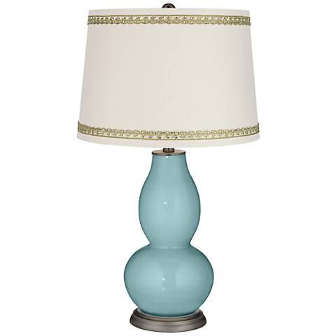 Raindrop Double Gourd Table Lamp with Rhinestone Lace Trim