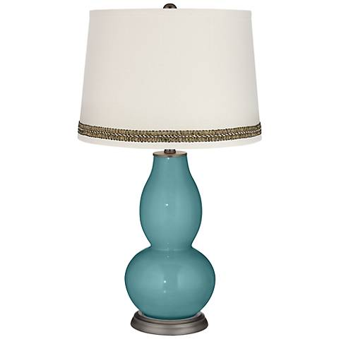 Reflecting Pool Double Gourd Table Lamp with Wave Braid Trim