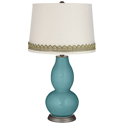 Reflecting Pool Double Gourd Table Lamp with Scallop Lace Trim