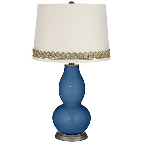 Regatta Blue Double Gourd Table Lamp with Scallop Lace Trim
