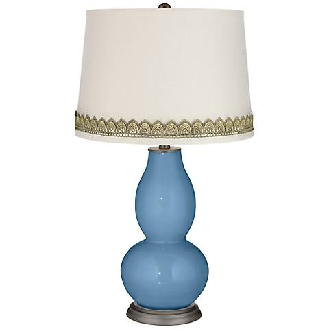 Secure Blue Double Gourd Table Lamp with Scallop Lace Trim