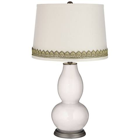 Smart White Double Gourd Table Lamp with Scallop Lace Trim