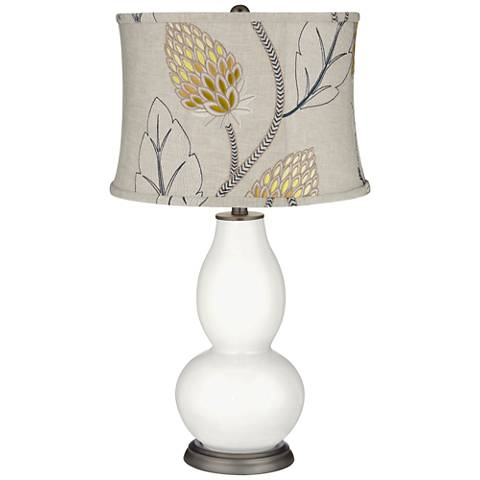 Winter White Beige Thistles Shade Double Gourd Table Lamp