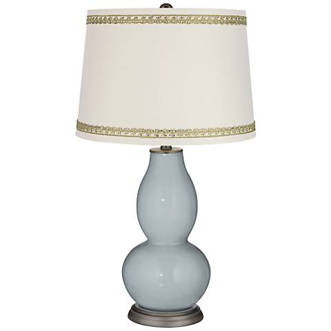 Uncertain Gray Double Gourd Table Lamp with Rhinestone Lace Trim