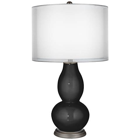 Tricorn Black Sheer Double Shade Double Gourd Table Lamp