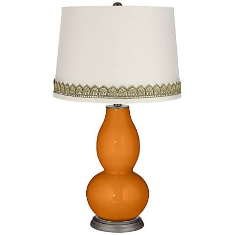 Cinnamon Spice Double Gourd Table Lamp with Scallop Lace Trim