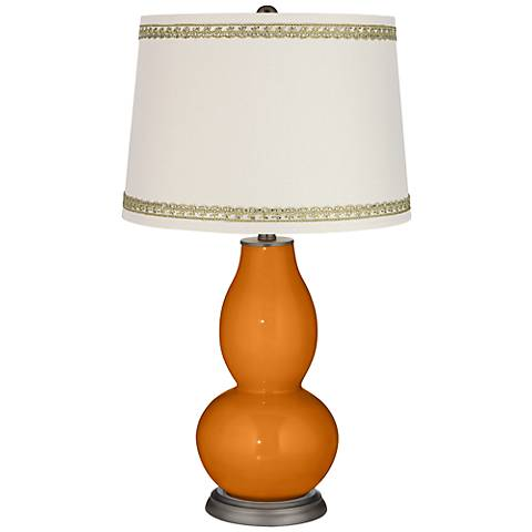 Cinnamon Spice Double Gourd Table Lamp with Rhinestone Lace Trim
