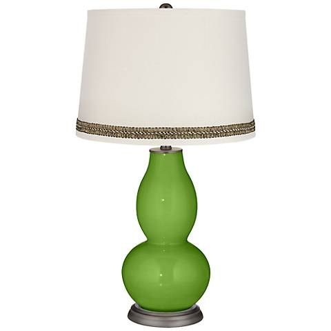 Rosemary Green Double Gourd Table Lamp with Wave Braid Trim