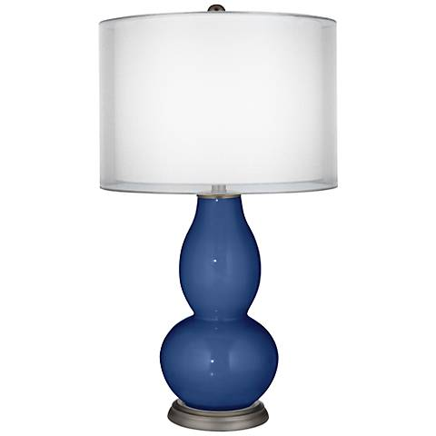 Monaco Blue Sheer Double Shade Double Gourd Table Lamp