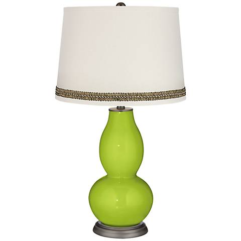 Tender Shoots Double Gourd Table Lamp with Wave Braid Trim