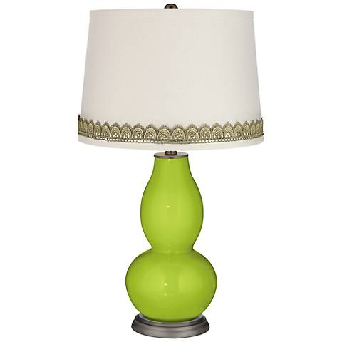 Tender Shoots Double Gourd Table Lamp with Scallop Lace Trim