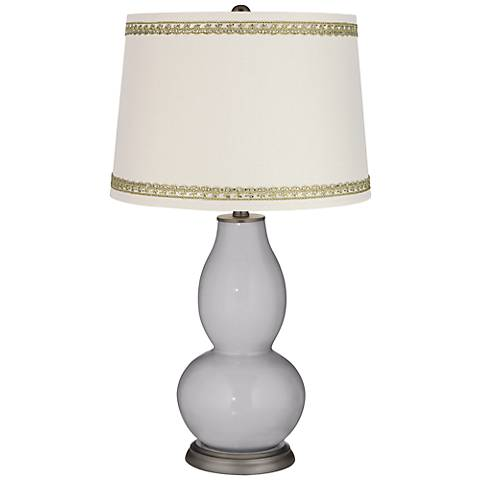 Swanky Gray Double Gourd Table Lamp with Rhinestone Lace Trim