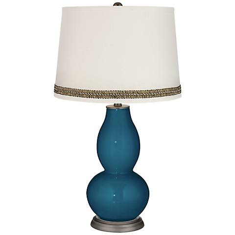 Oceanside Double Gourd Table Lamp with Wave Braid Trim