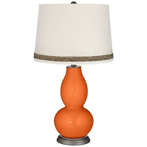 Invigorate Double Gourd Table Lamp with Wave Braid Trim