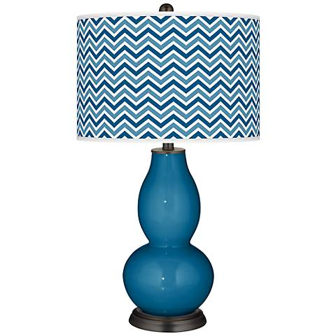Mykonos Blue Narrow Zig Zag Double Gourd Table Lamp