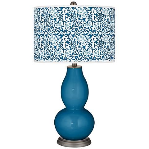 Mykonos Blue Gardenia Double Gourd Table Lamp