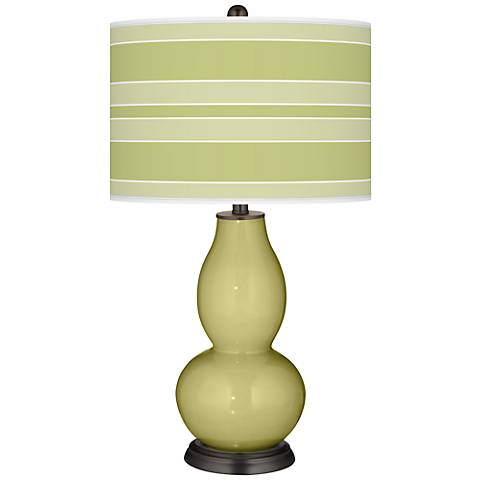 Linden Green Bold Stripe Double Gourd Table Lamp