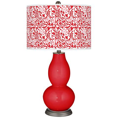 Bright Red Gardenia Double Gourd Table Lamp