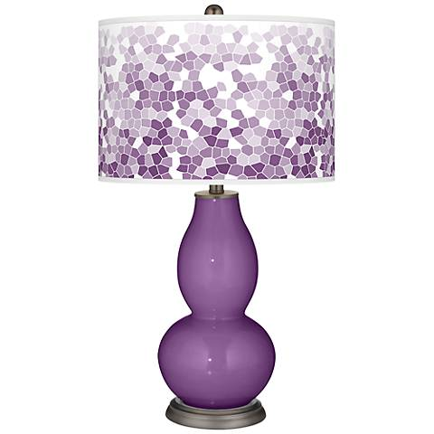 Passionate Purple Mosaic Giclee Double Gourd Table Lamp
